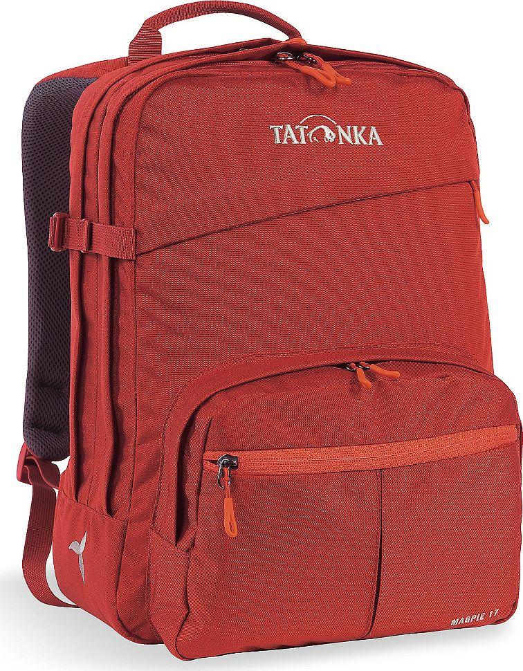 Рюкзак женский Tatonka Magpie, для учебы и работы, цвет: красный, 17 л1616.254Рюкзак Tatonka Magpie - это классический офисный рюкзак для девушек.Он оснащен отделением для ноутбука. Плечевые лямки адаптированы специально для женской фигуры. В рюкзаке два отделения и накладной передний карман с органайзером. Рюкзак сшит из прочной износостойкой ткани Cordura 500D.Преимущества и особенности: - Спинка Padded Back;- Изогнутые плечевые лямки;- Регулируемый по высоте нагрудный ремень;- Компрессионный стропы;- Ручка для переноски;- Два основных отделения;- Плотное дно;- Переднее отделение на молнии;- Накладной карман с органайзером и мягким отделением для телефона;- Отделение для ноутбука (не прилегающее к дну);- Крючок для ключей.Размер: 38 x 28 x 13 см.
