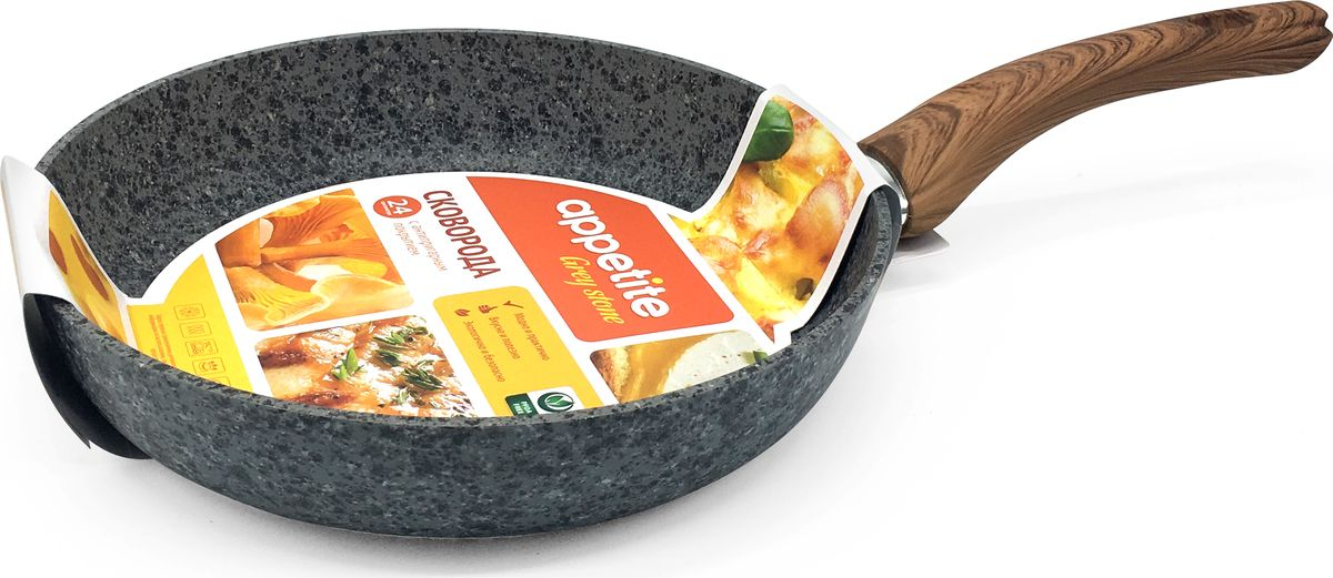 Сковорода Appetite Grey Stone, с антипригарным покрытием. Диаметр 24 смGR2241Сковорода Appetite Grey Stone прекрасно подойдет для приготовления пищи. Она выполнена из алюминия.Сковорода имеет антипригарное и мраморное покрытия. Идеальна для приготовления пищи с минимальным количеством масла. Изделие оснащено удобной ручкой.Подходит для газовых, индукционных и стеклокерамических плит.Диаметр: 24 см.
