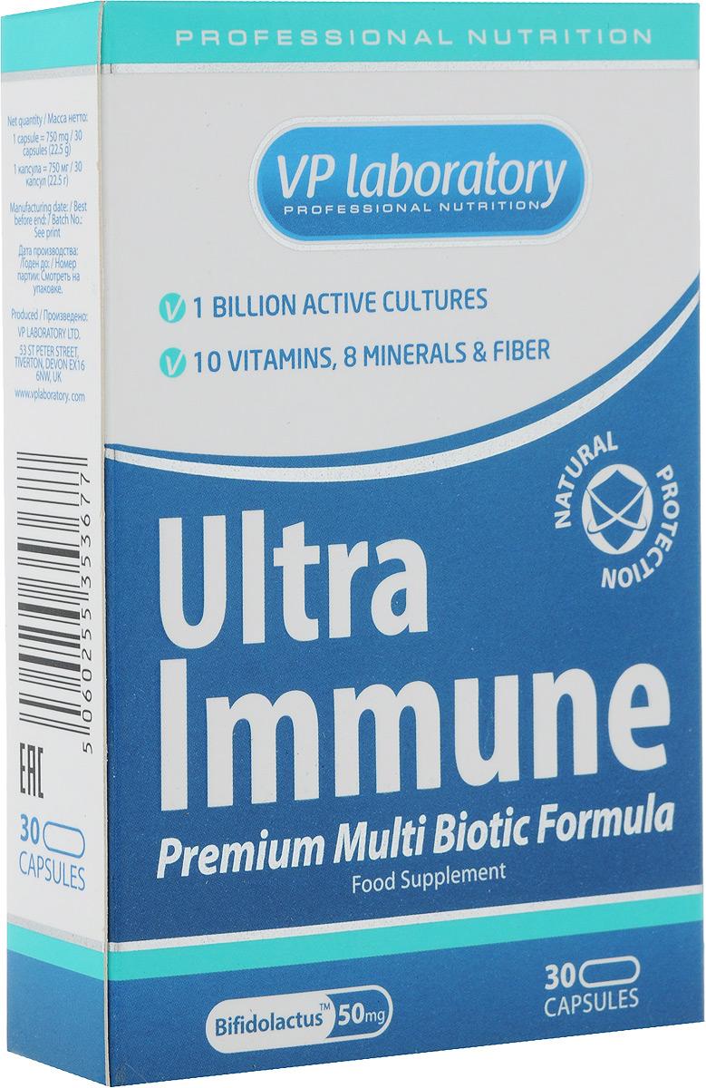 Средство для повышения иммунитета VP Laboratory ULTRA IMMUNE, 30 капсулVP00883Средство для повышения иммунитета VP Laboratory ULTRA IMMUNE - биологически активная добавка к пище с активными культурами бактерий, кулетчаткой, витаминами и минералами. Имеет сбалансированную формулу для укрепления защитных сил организма. При регулярном приеме комплекс ULTRA IMMUNE помогает: - повысить иммунитет и защитить организм от инфекций; - улучшить микрофлору кишечника и процессы пищеварения; - поддержать организм во время восстановления после перенесенных заболеваний или высоких умственных и физических нагрузок; - ежедневно получать необходимые витамины и минералы; - улучшить обмен веществ в организме; - повысить энергию и жизненный тонус, избавиться от усталости; - поддержать здоровье и красоту волос, кожи, ногтей. ULTRA IMMUNE отличается от других подобных комплексов тем, что, кроме полного набора витаминов и минералов на каждый день, он содержит Bifidolactus™ - 9 штаммов полезных бактерий (пробиотиков), которые нормализуют микрофлору кишечника и помогают усвоению полезных веществ, а также вещества (пребиотики), которые стимулируют рост и жизнедеятельность полезной микрофлоры кишечника. Другое важное отличие комплекса ULTRA IMMUNE - особое сочетание витаминов и минералов. Известно, что определенные витамины работают только в сочетании с другими витаминами или полезными веществами. Так, например, витамин С и витамин В1 гораздо лучше усваиваются, если в комплексе есть витамин В6 и витамин Е. Поэтому, для усвоения всех полезных веществ необходимо, чтобы витаминно-минеральный комплекс содержал не только конкретный набор витаминов, но также и те витамины и минералы, которые будут работать друг с другом. В данном комплексе присутствуют все указанные витамины. Более того, ULTRA IMMUNE - источник полезных веществ практически для всех систем организма: - пробиотики и пребиотики - улучшают работу желудка и кишечника; - цинк, селен, железо, медь, витамины B6, B12 С, D, фолиевая кислота и 