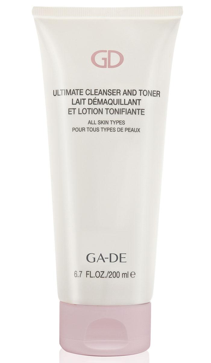 GA-DE Очищающие и тонизирующее средство Ultimate Cleanser and Toner (для всех типов кожи), 200 мл63245Очищающее средство для лица 2 в 1. Формула Ultimate Cleanser & Toner содержит растительные экстракты, которые деликатно и глубоко очищают вашу кожу лица, удаляя пыль и остатки макияжа. Кроме превосходного очищения, легкое молочко также помогает улучшить микроциркуляцию кожи, повышая ее общий тонус, хорошо питает и увлажняет. Компоненты средства предотвращают сухость и появление различных раздражений на лице.