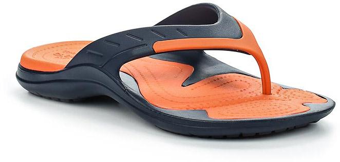 Сланцы Crocs MODI Sport Flip, цвет: темно-синий, оранжевый. 202636-4V9. Размер 9-11 (41/42)202636-4V9Стильные сланцы от Crocs придутся вам по душе. Рифление на верхней поверхности подошвы предотвращает выскальзывание ноги. Рельефное основание подошвы обеспечивает уверенное сцепление с любой поверхностью. Удобные сланцы прекрасно подойдут для похода в бассейн или на пляж.
