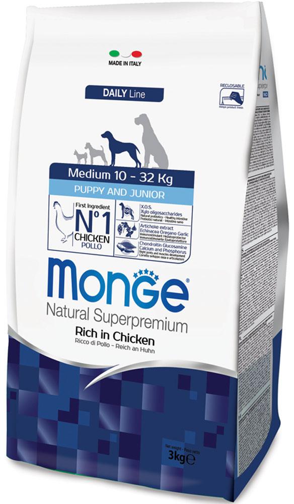 Корм сухой Monge для щенков средних пород, 3 кг70004220Сухой корм Monge - это полноценный рацион для щенков средних пород. Щенки средних пород возрастом до 12 месяцев, а так же беременные и кормящие собаки, могут получать из данного корма всю энергетическую потребность, необходимую для нормального развития. Все ингредиенты, используемые для производства данного корма, обеспечивают максимальную поддержку правильного развития вашего щенка. Корм содержит глюкозамин и хондроитин, для обеспечения здоровых костей и суставов, чтобы ваш щенок рос сильным и здоровым. Корм имеет оптимальное соотношение жирных кислот Омега-3 и Омега-6.Состав: куриное мясо (свежее мин. 10%, обезвоженное 32%), рис (мин. 27%), кукуруза, куриное масло, свекольный жом, овес, дрожжи, яичный крахмал, мука сельди, рыбий жир, экстракт Юкки Шидигера, цистин, морские водоросли, фруктоолигосахариды 528 мг/кг, маннан-олигосахариды 528 мг/кг, хондроитин сульфат 55 мг/кг, метилсульфонилметан 80 мг/кг,глюкозамин 80 мг/кг.Анализ: протеин 29%, масла и жиры 18%, сырая клетчатка 2,5%, сырая зола 7,5%, фосфор 1,35%, линолевая кислота 3,92%, Омега-6 3,07%, Омега-3 0,67%.Пищевые добавки, витамины: витамин А 25700 МЕ/кг, витамин D3 1700 МЕ/кг, витамин Е 192 мг/кг, витамин С 64 мг/кг, кальций 21,9 мг/кг, холина хлорид 200 мг/кг, хлорид калия 7,248 мг/кг, витамин B1 10 мг/кг, витамин B2 21 мг/кг, витамин В6 6 мг/кг, витамин В12 0,12 мг/кг, биотин 0,32 мг/кг, L-карнитин 95 мг/кг, цинк 140 мг/кг, железо 87 мг/кг, марганец 33 мг/кг, медь 14 мг/кг, йод 0,87 мг/кг, аминокислоты (метионин 2500 мг/кг).Товар сертифицирован.