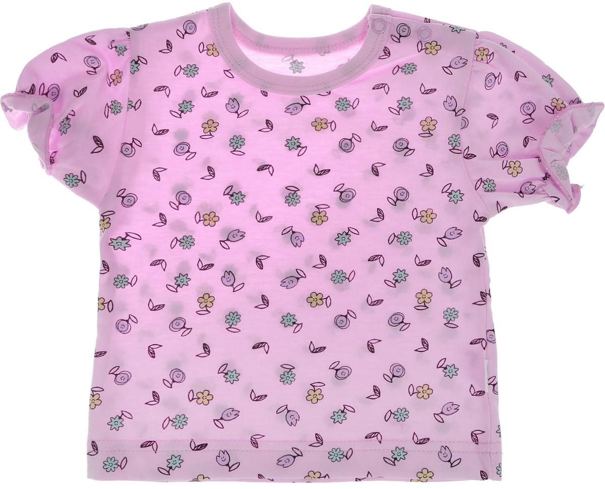 Футболка для девочки Веселый малыш One, цвет: розовый. 69172/one-Забавные цветочки. Размер 86 футболки и топы веселый малыш футболка вишенки 69172