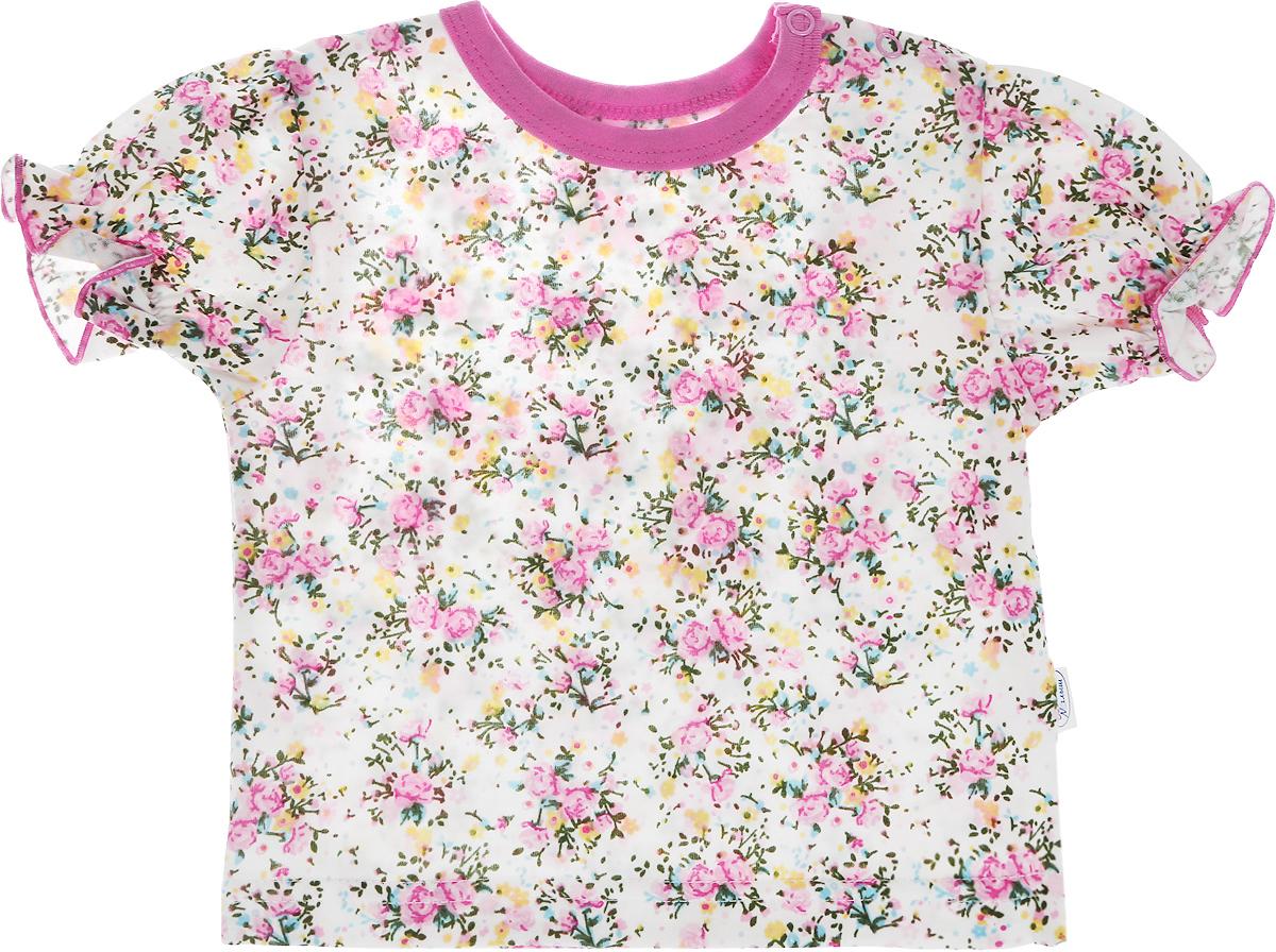 Футболка для девочки Веселый малыш One, цвет: розовый. 69172/one-Букет. Размер 86 футболки и топы веселый малыш футболка вишенки 69172