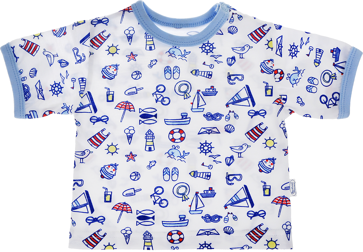 Футболка для мальчика Веселый малыш One, цвет: голубой. 67172/one-Морская. Размер 6867172_морскаяФутболка для мальчика Веселый малыш выполнена из качественного материала. Модель с круглым вырезом горловины и короткими рукавами.