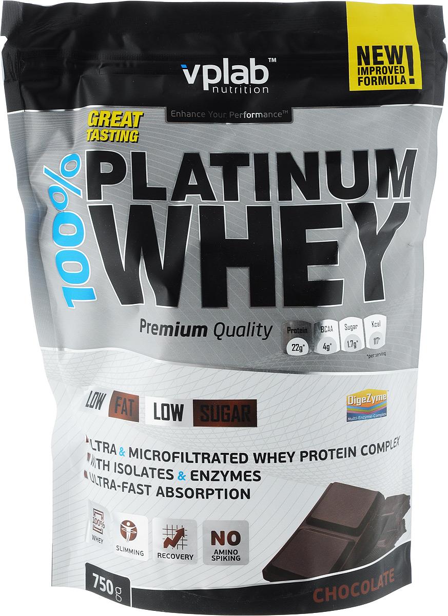 Протеин Vplab 100% Platinum Whey, шоколад, 750 г протеин сывороточный vplab platinum whey малина в шоколаде 2 3 кг