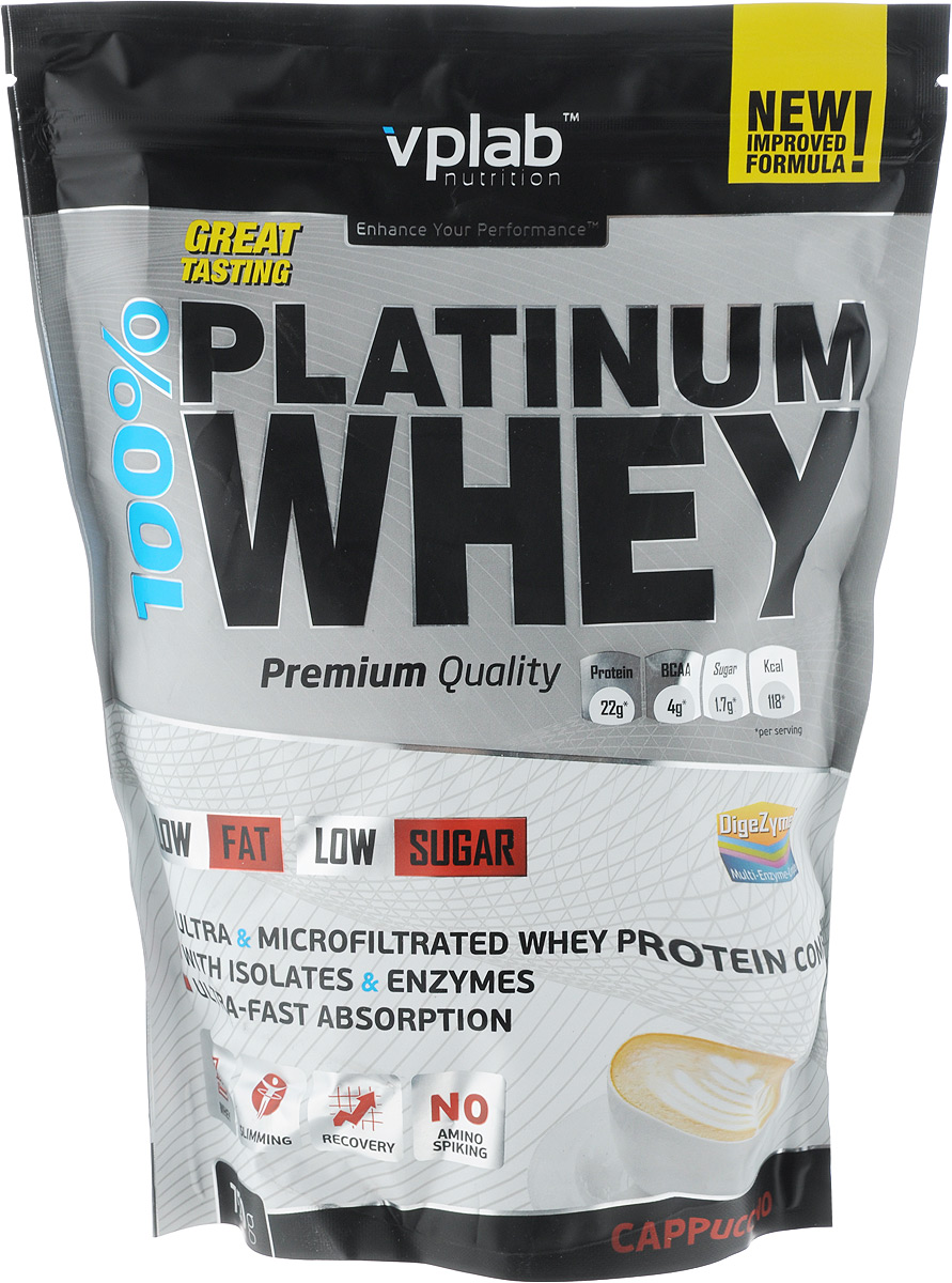 "Протеин Vplab ""100% Platinum Whey"", капучино, 750 г, VP Laboratory"