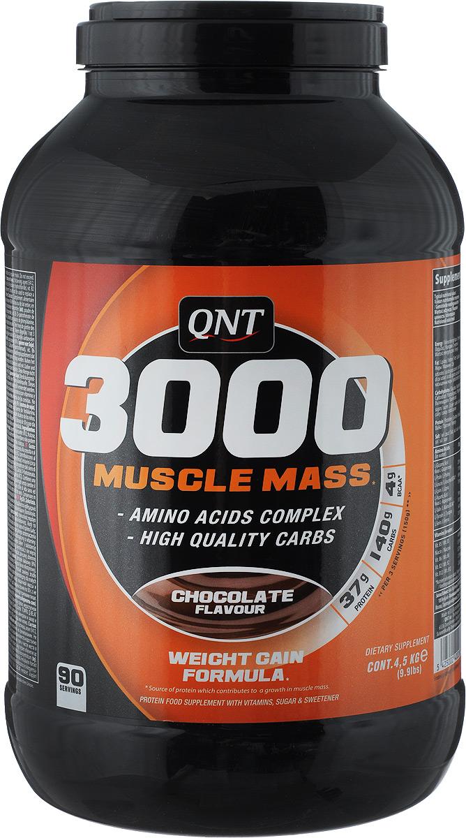 Белково-углеводная смесь QNT 3000 Muscle Mass, шоколад, 4,5 кгQNT1083Гейнер QNT 3000 Muscle Mass - это белково-углеводная смесь сывороточного изолята протеина в сочетании с комплексом витамина В, мальтодекстрином, без содержания лактозы для оптимального усвоения. Продукт стимулирует набор мышечной массы и предотвращает мышечный катаболизм после тренировок. Продукт обогащен бета-аланином, таурином и Л-глютамином. Также содержит BCAA и около 37 г протеина в 3 порциях. Способ применения: принимайте от 1 до 3 мерных ложек по 50 г, с не более чем 450 мл воды или молока в добавок к регулярному питанию. Принимайте после тренировок или между приемами пищи. Состав: мальтодекстрин, декстроза, концентрат сывороточного протеина (молоко), пудра какао (8%), загуститель Е412, фруктоза, вкусовая добавка, подсластитель Е951, витамины: В3, В5, В6, В12. Энергетическая ценность (в 100 г с водой): 379 ккал. Пищевая ценность (в 100 г с водой): жиры 1,6 г, углеводы 77,1 г, протеин 14 г. Энергетическая ценность (в 100 г с молоком): 685 ккал. Пищевая ценность (в 100 г с водой): жиры 17,8 г, углеводы 101,5 г, протеин 29,6 г. Товар сертифицирован.