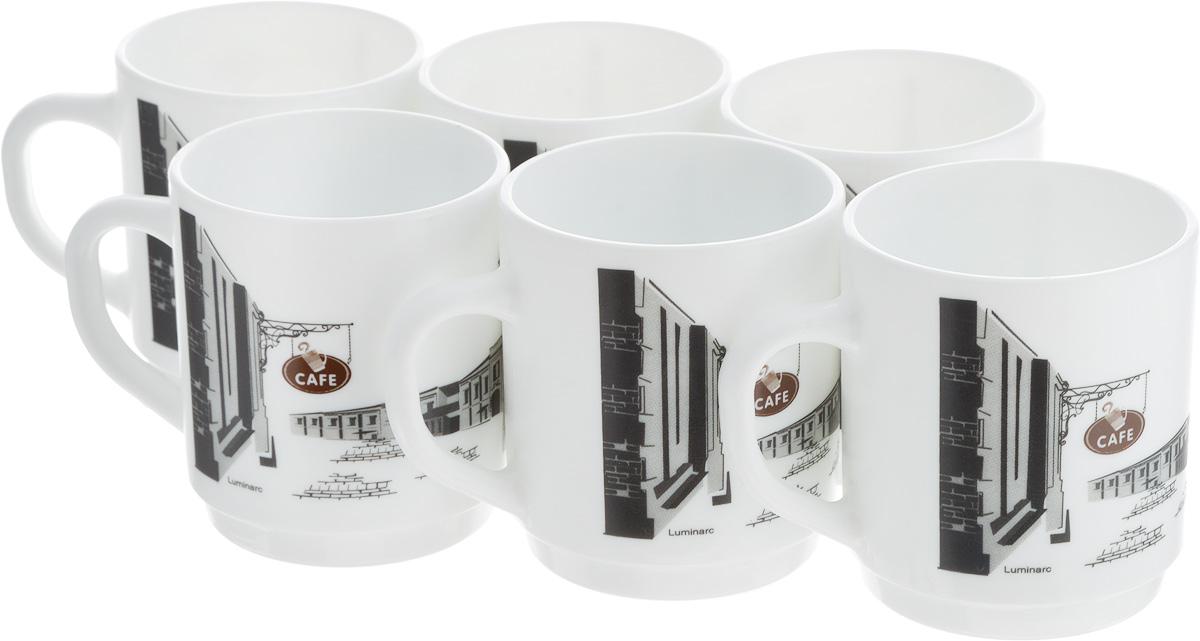 """Набор Luminarc """"Париж"""" состоит из шести кружек с удобными ручками, выполненных из прочного стекла c глазурованным покрытием. Оформлены кружки принтом с изображением города. Посуда Luminarc будет радовать вас качеством изготовления. Изделия можно использовать в микроволновой печи. Разрешено мыть в посудомоечной машине. Объем кружки: 290 мл.Диаметр (по верхнему краю): 8 см.Высота: 9 см."""