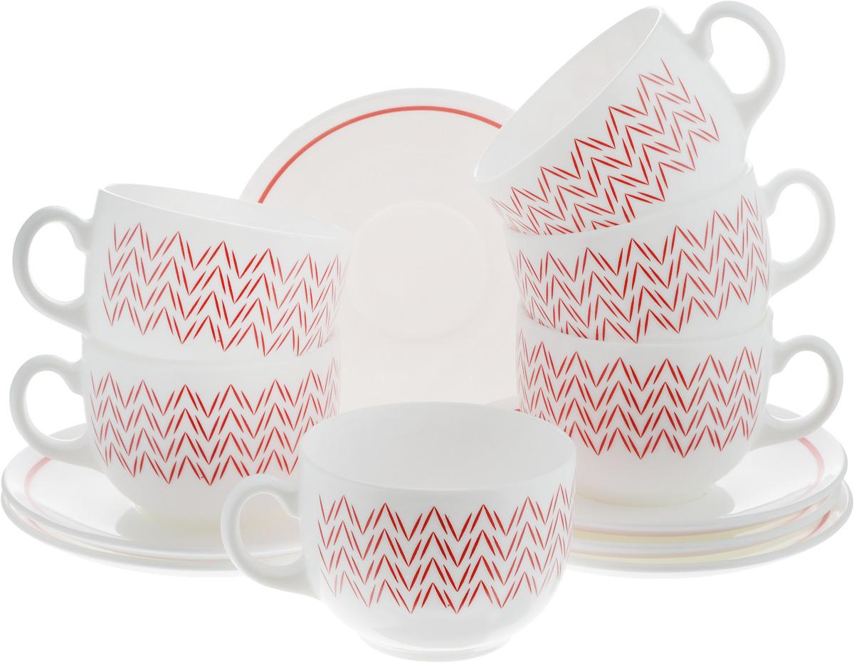 Набор чайный Luminarc Battuto, 12 предметовJ7842Чайный набор Luminarc Battuto состоит из шести чашек и шести блюдец. Предметы набора изготовлены из высококачественного стекла и обладают высокой степенью прочности, устойчивостью к царапинам и резким перепадам температур.Чайный набор яркого и лаконичного дизайна, украсит интерьер кухни и сделает ежедневное чаепитие настоящим праздником. Можно использовать в микроволновой печи, и мыть в посудомоечной машине. Бренд Luminarc - это один из лидеров мирового рынка по производству посуды и товаров для дома. В основе процесса изготовления лежит высококачественное сырье, а также строгий контроль качества. Товары для дома Luminarc уважают и ценят во всем мире, а многие эксперты считают данного производителя эталоном совершенства.Объем чашек: 220 мл.Диаметр чашек (по верхнему краю): 7,5 см.Высота чашек: 6 см.Диаметр блюдец: 13,5 см.