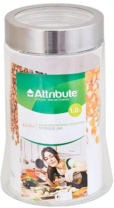 Банка для сыпучих продуктов Attribute , с крышкой, 1000 млABS070