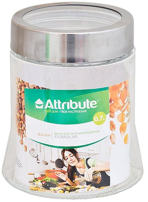 Банка для сыпучих продуктов Attribute, с крышкой, 700 мл емкости неполимерные sestesi банка для сыпучих продуктов с крышкой овощи