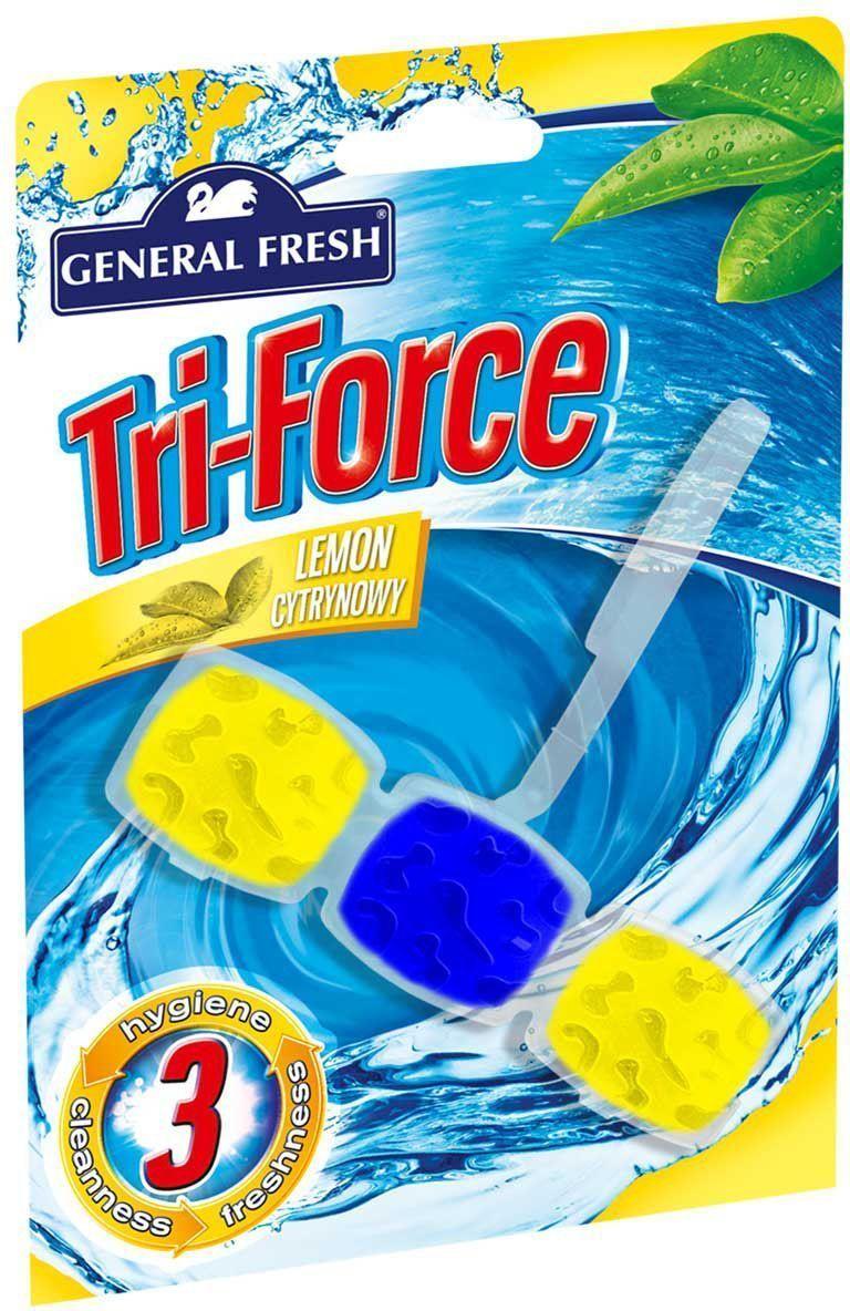 Подвеска для очистки и ароматизации туалета General Fresh Tri-Force. Lemon cytrynowy, 1 шт517000Высокоэффективная инновационная формула освежителя с ароматом лимона для унитазов Tri-Force обеспечивает идеальную чистоту и свежесть. Тройная сила ингредиентов создает обильную, густую пену, которая убивает микробы надолго и обеспечивает наибольший чистящий эффект. Товар сертифицирован.