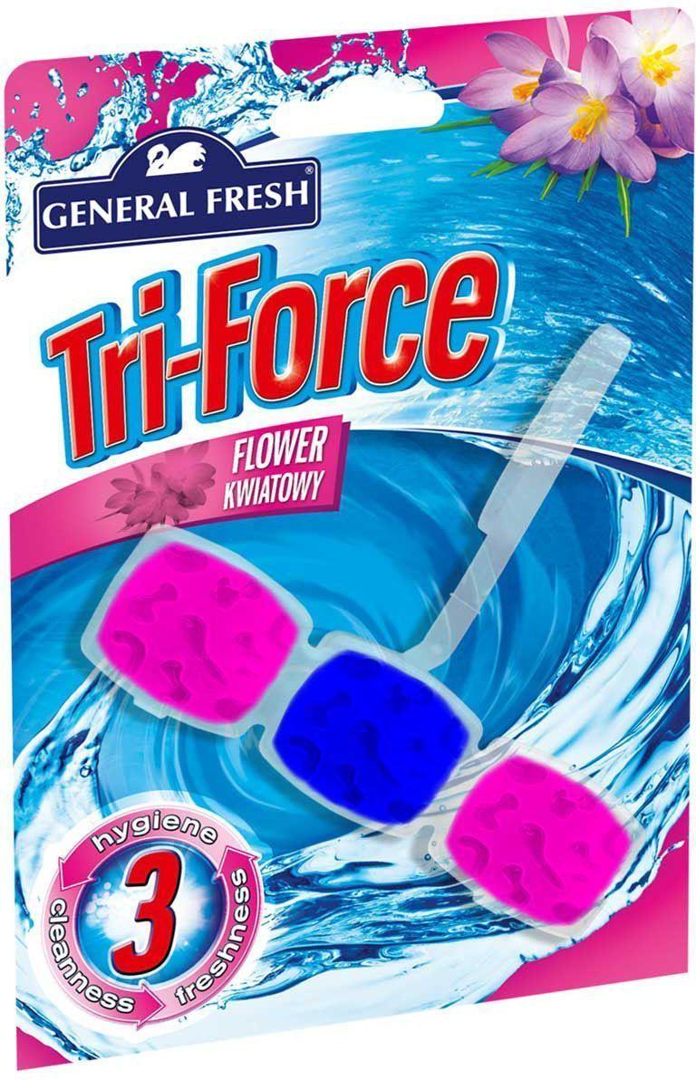 Подвеска для очистки и ароматизации туалета General Fresh Tri-Force. Flower kwiatowy, 1 шт517001Высокоэффективная инновационная формула освежителя с цветочным ароматом для унитазов Tri-Force обеспечивает идеальную чистоту и свежесть. Тройная сила ингредиентов создает обильную, густую пену, которая убивает микробы надолго и обеспечивает наибольший чистящий эффект. Товар сертифицирован.