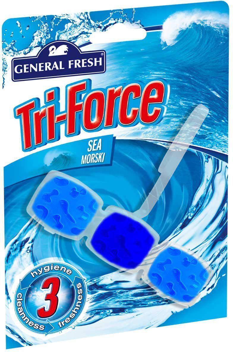 Подвеска для очистки и ароматизации туалета General Fresh Tri-Force. Sea morski, 1 шт517003Высокоэффективная инновационная формула освежителя для унитазов Tri-Force обеспечивает идеальную чистоту и свежесть. Тройная сила ингредиентов создает обильную, густую пену, которая убивает микробы надолго и обеспечивает наибольший чистящий эффект. Товар сертифицирован.