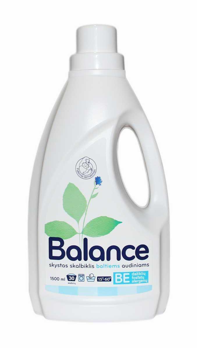Гипоаллергенное жидкое средство Balance, для стирки белого белья, на 30 стирок, 1,5 л534802Жидкое моющее средство Balance не содержит красителей, ароматизаторов и фосфатов. Рекомендовано дерматологами для стирки детской одежды, а также одежды людей с чувствительной кожей и кожей, склонной к аллергии. Безопасно и эффективно отстирывает все виды белых тканей при температуре +15-60°C. Предотвращает возникновение серых оттенков и усиливает белизну ткани. Средство предназначено для стирки белых тканей всех видов: хлопка, льна, шелка, шерсти, вискозы, нейлона и других тканей. Подходит как для ручной, так и для стирки в автоматической машине. Состав: 5-15 % анионных ПАВ, <5 % неионогенные ПАВ, <5 % мыла, ферменты, консервант (benzisothiazolinone, laurylamine dipropylenediamine).