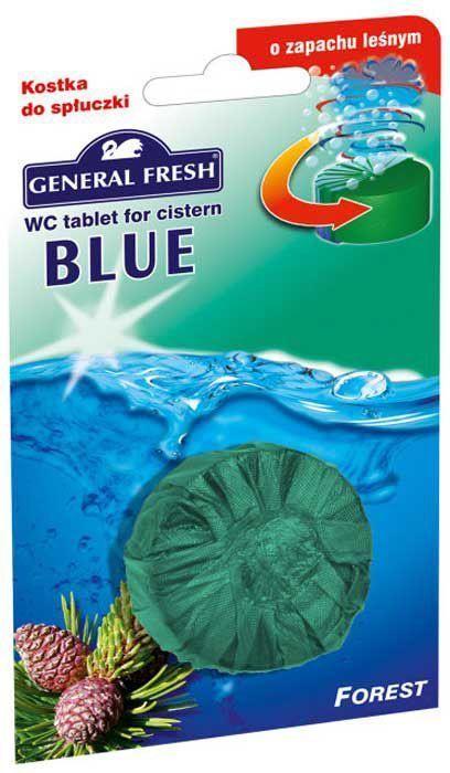 Очиститель-освежитель для смывного бачка General Fresh Blue. Forest, таблетка, 1 шт х 50 г542000Без особых хлопот обеспечит гигиеническую чистоту, и свежесть вашего туалета в течение длительного времени.Компоненты, входящие в состав средства, обеспечивают тройное действие:1. Очищает поверхность унитаза, предотвращая образование известкового налета.2. Уничтожает бактерии даже в труднодоступных местах.3. Создает обильную пену и стойкий свежий аромат при каждом сливе воды. Товар сертифицирован.Как выбрать качественную бытовую химию, безопасную для природы и людей. Статья OZON Гид