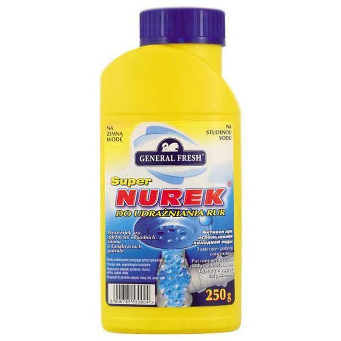 Средство для очистки труб General Fresh Super Nurek, гранулы, 250 г553000Быстро и основательно освобождает стоки и трубопровод от засоров. Также эффективно устраняет неприятные запахи. Устраняет засоры, разлагает в самое короткое время отложения в трубах – остатки пищевых продуктов, мыла, жир, волосы, вата и т.д. Прочищает трубы в ванной, умывальнике, душевых поддонах, унитазах и стоках. Увеличивает скорость слива воды. Заменяет работу сантехника.Как выбрать качественную бытовую химию, безопасную для природы и людей. Статья OZON Гид