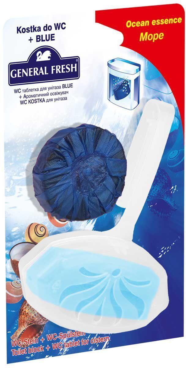 Подвеска для очистки и ароматизации туалета General Fresh WC Kostka, + WC таблетка Blue, 1 шт. 570200570200Очищают поверхность унитаза, предотвращая образование известкового налета. Уничтожают бактерии даже в труднодоступных местах. Создают обильную пену и стойкий свежий аромат при каждом сливе воды.