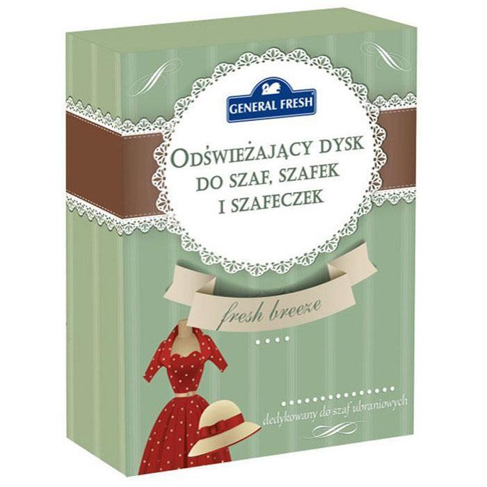 Освежающий диск General Fresh, ароматизированный, для шкафов. 587121587121Освежающий ароматизированный диск General Fresh для шкафов со специальнымикомпонентами, входящими в состав освежителя, обеспечивает длительную свежесть и приятныйзапах. Благодаря формуле, нейтрализующей неприятные запахи, освежитель прекрасноподойдет также для обувных полок. Не загрязняет одежду.