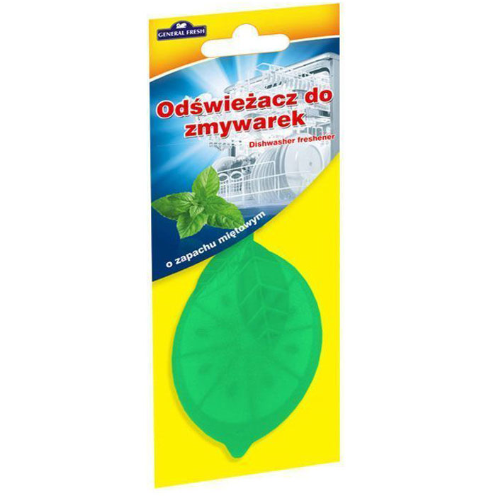 Освежитель для посудомоечных машин General Fresh Odswiezacz Do Zmywarek. Мята, 1 шт593901Освежитель для посудомоечных машин ODSWIEZACZ DO ZMYWAREK поглощает и нейтрализует неприятные запахи и оставляет приятный аромат мяты в посудомоечной машине, не оставляя каких-либо запахов на посуде. Благодаря удобному в подвеске освежителю, использование посудомоечной машины будет таким приятным, как никогда раньше. Товар сертифицирован.Как выбрать качественную бытовую химию, безопасную для природы и людей. Статья OZON Гид