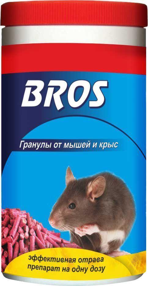 Гранулы от крыс и мышей BROS, банка с дозатором, 250 г700141BROS Гранулы от крыс и мышей (банка с дозатором). Высокую эффективность препарата обеспечивают: 1-пищевая привлекательность для грызунов 2-замедленное действие, 4 - 5 дней после подачи, приводит к тому, что грызуны не ассоциируют отраву с гибелью других особей. 3-Примененные мумифицирующие вещества замедляют разложение мертвых особей. 250 гр.Приманка в виде гранул для борьбы с серыми крысами и домовыми мышами. Высокая эффективность препарата связана с привлекательностью запаха и вкуса приманки для грызунов; медленным действием препарата, проявляющимся в течение 4-5 дней с момента применения средства, гарантирующим то, что грызуны не связывают гибель сородичей с потреблением отравы.Средство имеет бальзамирующие свойства и содержит вещество, предотвращающее случайное проглатывание людьми и домашними животными.Применение: Средство в виде готовой приманки, независимо от вида грызунов, поместить по 10 - 20 г в сухих местах в небольшие емкости (лотки, коробки, специальные контейнеры) или на подложки из плотной бумаги, полиэтилена, пластика. Емкости с приманкой разместить в местах обитания серых крыс и домовых мышей, на путях перемещения грызунов (прежде всего в углах, вдоль стен и перегородок, под мебелью, вблизи нор). Расстояние между точками раскладки емкостей с приманкой: от 1 до 5 м, в зависимости от площади помещения, его захламленности, а также вида и численности грызунов. При высокой численности грызунов расстояние между точками раскладки приманки следует сократить до 1 - 3 м, размещая средство небольшими порциями. Места раскладки следует осматривать через 2 дня после первой раскладки, затем один раз в неделю, восполняя приманку по мере ее поедания. Обработка объекта (помещения) заканчивается, когда приманка остается несъеденной во всех местах ее раскладки, что указывает на исчезновение грызунов. Окончательное уничтожение вредителей происходит через 10 - 15 дней после начала применения препарата. ВНИМАНИЕ:
