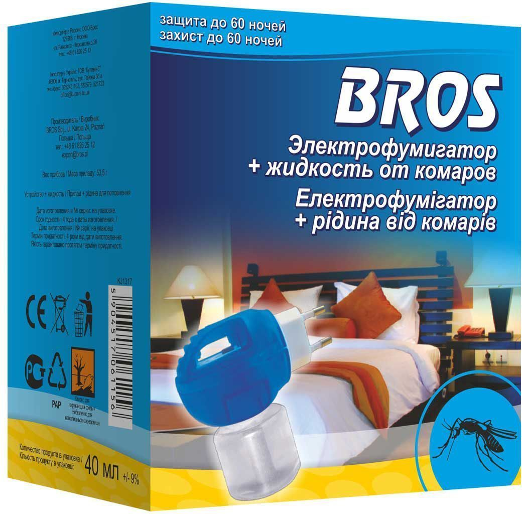 """Комплект """"Bros"""" состоит из универсального  электрофумигатора и жидкости, рассчитанной на 60 ночей.  Предназначен для защиты от летающих насекомых, в  особенности, комаров, и мух. Включенное в розетку  устройство вызывает испарение вещества, которое  воздействует на насекомые, уже находящиеся в помещении, а  также защищает помещение от новых, влетающих снаружи.  Длительное действие препарата гарантирует спокойный сон  в течение многих летних ночей.  Используется как в городских квартирах, так и в загородных  домах. Электрофумигатор обеспечивает эффективное  уничтожение комаров внутри помещения на протяжении  всего срока действия инсектицидного средства. Устройство  работает также с пластинами.  Один флакон объемом 40 миллилитров рассчитан на  работу в течение 480 часов.  ВНИМАНИЕ!  Включить прибор в электросеть, повернув вилку прибора так,  чтобы флакон располагался вертикально (вниз дном). Устройство работает от электросети: 220 V.  Состав: праллетрин 1% (1 г/ 100 г), функциональные и  технологические компоненты. Объем флакона с жидкостью: 40 мл."""