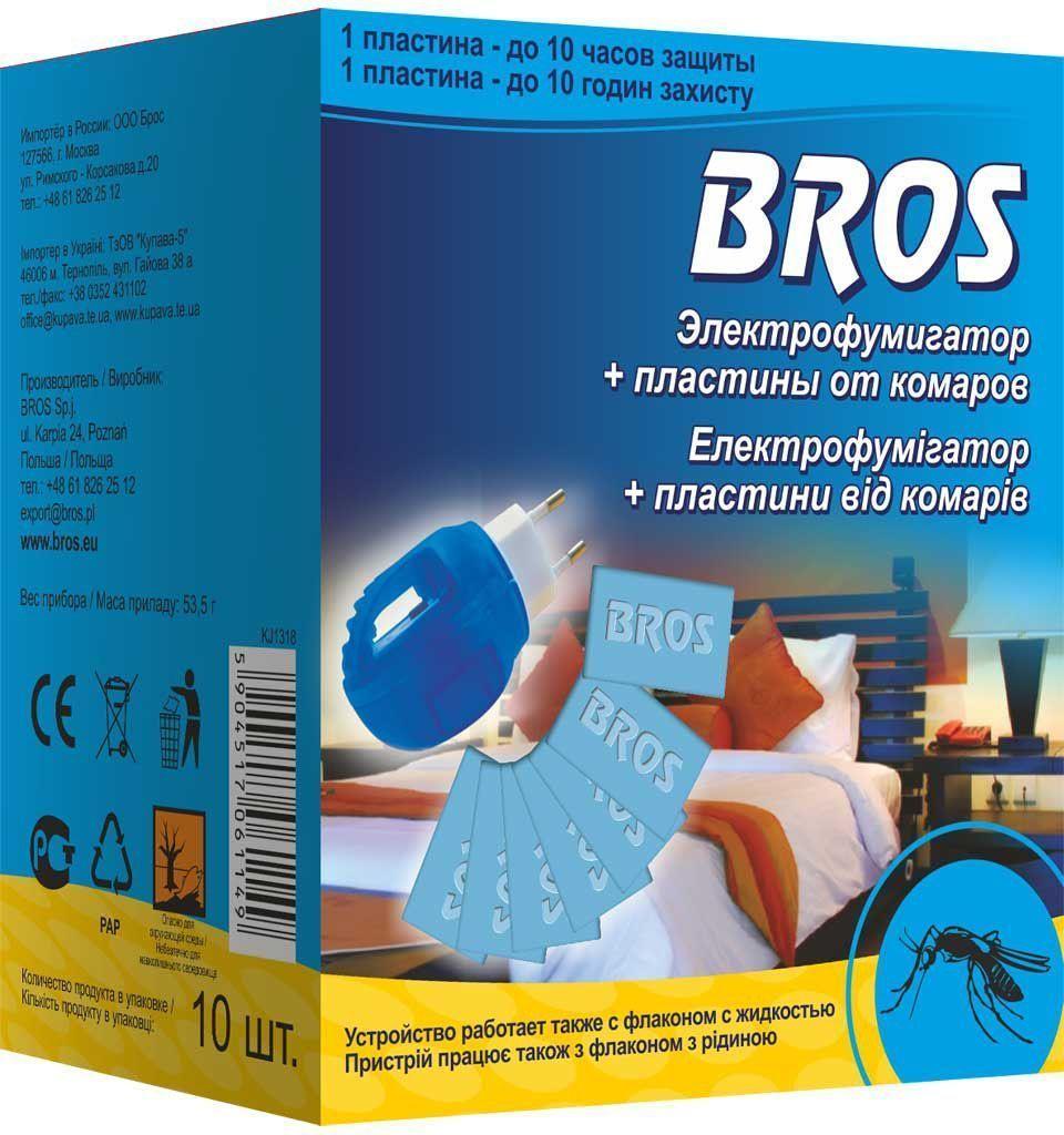 Электрофумигатор Bros, с пластинами от комаров, 10 шт710248Комплект Bros состоит из универсального электрофумигатора и 10 пластин от комаров. Предназначен для защиты от летающих насекомых. Многочасовое действие испаряющегося вещества обеспечивает защиту помещения в течение всей ночи. Пластины, пропитанные инсектицидным раствором, также используются для уничтожения комаров и других летающих кровососущих насекомых (мошек, москитов) в помещениях. Действуют даже при открытых окнах и включенном свете. Использованная пластина изменяет цвет. Ее следует заменить, предварительно отключив электрофумигатор. Прибор выключить, пластину сохранить до следующего использования. Устройство работает от электросети: 220 V. Состав: эсбиотрин 22,8 мг/пластину (2,47%), функциональные и технологические компоненты.
