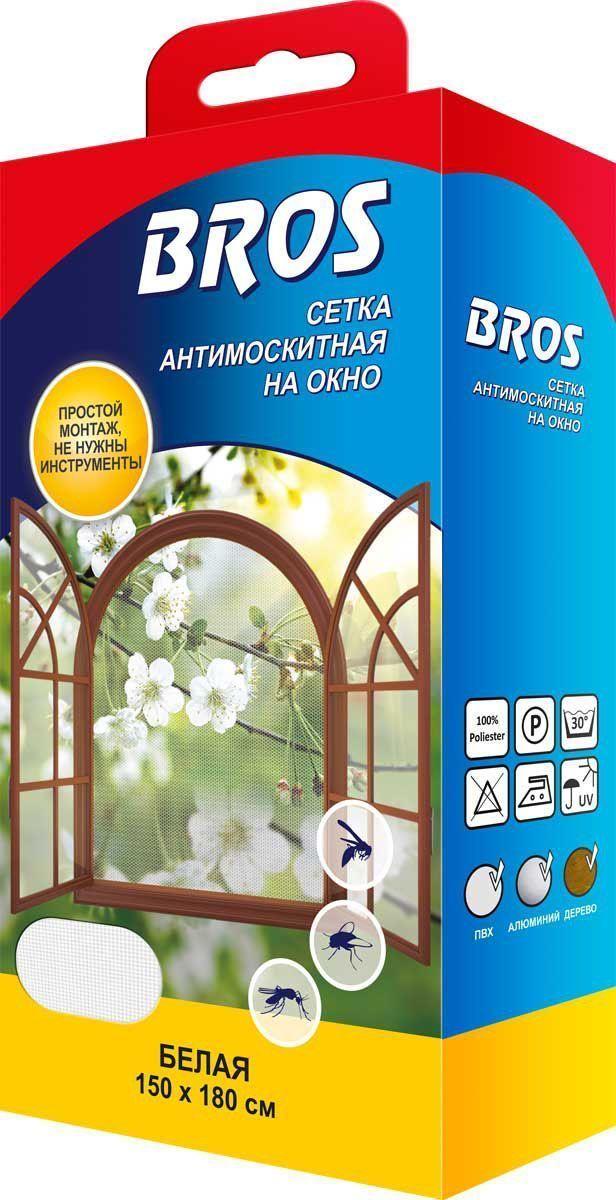 Сетка антимоскитная на окно белого цвета BROS защищает помещения от любых насекомых. Выполнена из 100% полиэстера. Загрязненную сетку можно выстирать. Крепление сетки на липучку обеспечивает простой и быстрый монтаж и демонтаж. Сетка может использоваться на любых окнах.  Применение: 1. Открыть окно и очистить оконную раму (лучше всего спиртом). 2. Приклеить ленту к раме по периметру окна. 3. Оставить приблизительно на 2 часа. 4. Прикрепить сетку к оконной раме. 5. При необходимости обрезать излишки сетки. Следы, остающиеся после удаления сетки, можно легко стереть при помощи косметического керосина и экстракционного бензина.