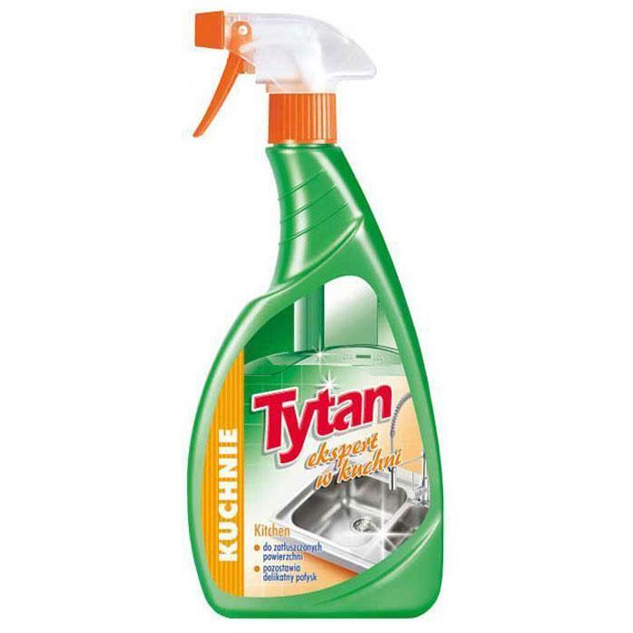 Средство для мытья кухни Tytan, спрей, 500 мл727510Спрей Tytan разработан для уборки кухонных поверхностей. Эффективно удаляет грязь, жиры и возникшие жирные осадки на плитах, микроволновых печах, вытяжках, столешницах, шкафчиках, раковинах, плитках и на других поверхностях. Им можно отлично отчистить загрязнения с раковины, кастрюль и плит. Товар сертифицирован.