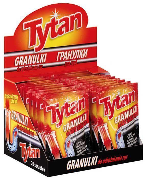Гранулированное средство Tytan, для чистки канализационных труб, 1 х 50 г730510Гранулированный порошок для улучшения проходимости труб TYTANпредназначен для труб кухонных раковин, раковин-умывальников, ванн и прочего водоотводящего оборудования. Быстро и эффективно растворяет кухонные отходы, волосы, старый жир и бумагу. Оставляет после себя свежий запах.
