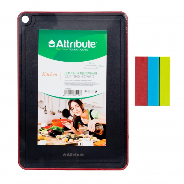 Доска разделочная Attribute Black, цвет: черный, красный, 29 х 20 см. APB029APB029
