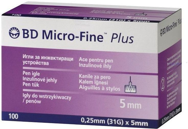 Иглы для шприц-ручки BD Micro-Fine Plus, 0,25 мм (31G) х 5 мм, 100 шт микро файн иглы плюс 0 25х5мм 31g n100