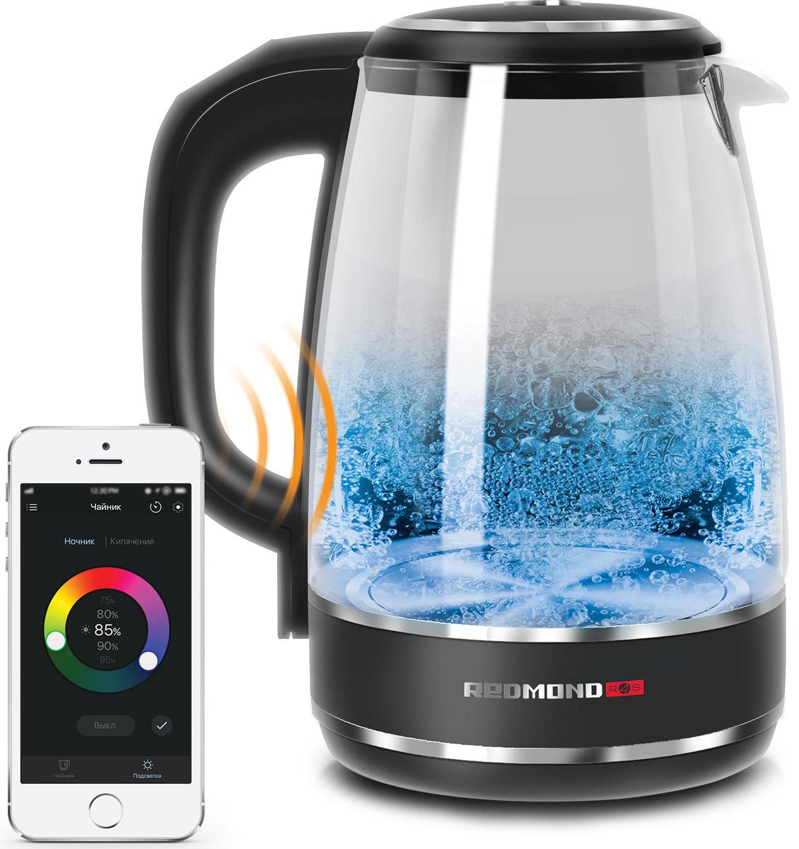 Redmond SkyKettle RK-G200S умный электрический чайникRK-G200SУмный световой чайник Redmond SkyKettle G200S – современный чайник с оригинальным свечением и дистанционным управлением со смартфона. Через приложение Ready for Sky в smart-чайнике можно подогреть воду до нужной температуры, а также настроить любой цвет подсветки и сделать так, чтобы стеклянный корпус и вода в нем переливались как в калейдоскопе или на танцплощадке – всеми цветами радуги!Одним касанием экрана смартфона можно включить подсветку умного чайника SkyKettle G200S, выбрав любой цвет и при желании настроив его яркость. В приложении можно задать также скорость перехода свечения от одного цвета к другому, чтобы через заданные вами промежутки времени (от 30 секунд до 3 минут) цветовая гамма подсветки красиво менялась, создавая эффект светомузыки.Подсветка умного чайника может изменяться в процессе нагрева воды – достаточно внести соответствующую настройку через приложение. А хотите, чтобы умный чайник красиво светился в темное время суток и даже когда не нагревает и не кипятит воду? Так, настройте через приложение ночник с любым цветом свечения! Умный световой гаджет Redmond SkyKettle G200S создаст незабываемую атмосферу на вашей кухне!Благодаря дистанционному управлению подогреть воду для чая и кофе в SkyKettle можно в один клик. Помимо кипячения здесь предусмотрено 4 температурных режима: 40, 55, 70 и 85°C. В приложении можно задать любую температуру нагрева независимо от четырех встроенных режимов с точностью до 1°C. Это позволит с легкостью правильно заваривать разные сорта чая!Если вы задерживаетесь или еще не готовы пить чай/кофе, то умный чайник поддержит воду теплой. Подогрев в SkyKettle G200S включится автоматически.Дополнительное преимущество SkyKettle – блокировка панели управления, предупреждающая случайное нажатие кнопок, будет полезна в семьях с маленькими детьми и взбалмошными домашними питомцами.Минимальная поддерживаемая версия Android: 4.3 Jelly BeanМинимальная поддерживаемая версия