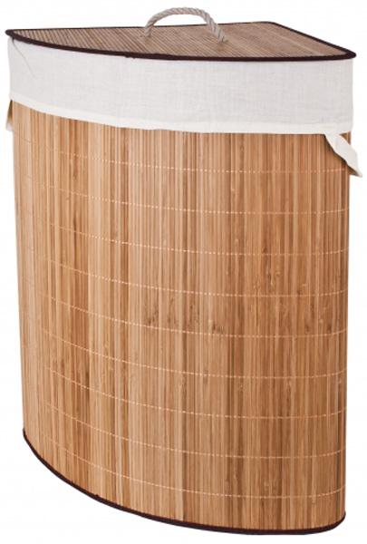 """Уникальная угловая корзина для белья Attribute """"Бамбук"""" изготовлена из  натурального бамбука. Не боится влаги. Натуральный бамбук обладает  рядом  положительных  качеств: антибактериальный, гиппоаллергенный, износостойкий, дезодорирует.  Корзина оснащена внутренним чехлом и крышкой. Оригинальное изделие не занимает  много места. Натуральная, бамбуковая корзина Attribute """"Бамбук"""" станет  нужным и практичным аксессуаром в любой ванной комнате.   Размер: 37х 58 см."""