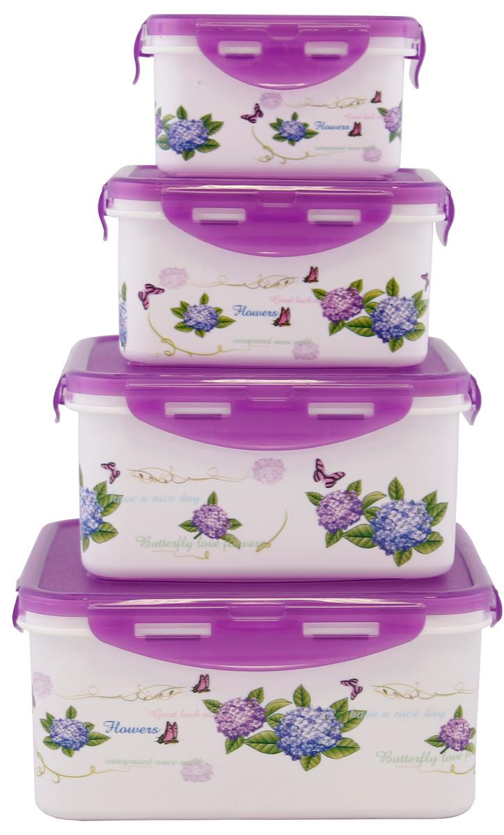Набор контейнеров Patricia, квадратных, цвет: фиолетовый, 4 предмета. IM99-1404 набор для специй patricia 4 предмета im99 3920