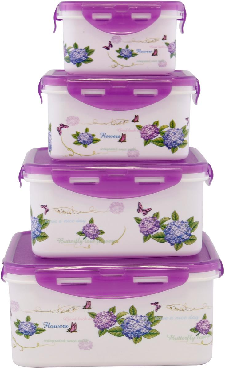 Набор контейнеров Patricia, прямоугольных, цвет: фиолетовый, 4 предмета. IM99-1405 набор для специй patricia 4 предмета im99 3920