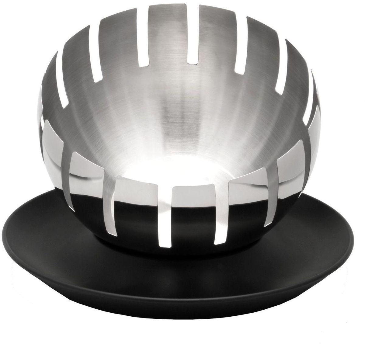 """Ваза для фруктов BergHOFF """"Zeno"""" из двух предметов. Верхняя чаша выполнена из стали и имеет сферическую форму с прорезями. Нижнее блюдо круглой формы выполнено из полипропилена черного цвета. Ваза отлично подойдет для красивой сервировки на праздничном столе. Необычный дизайн придется по вкусу и ценителям классики, и тем, кто предпочитает утонченность и изысканность."""