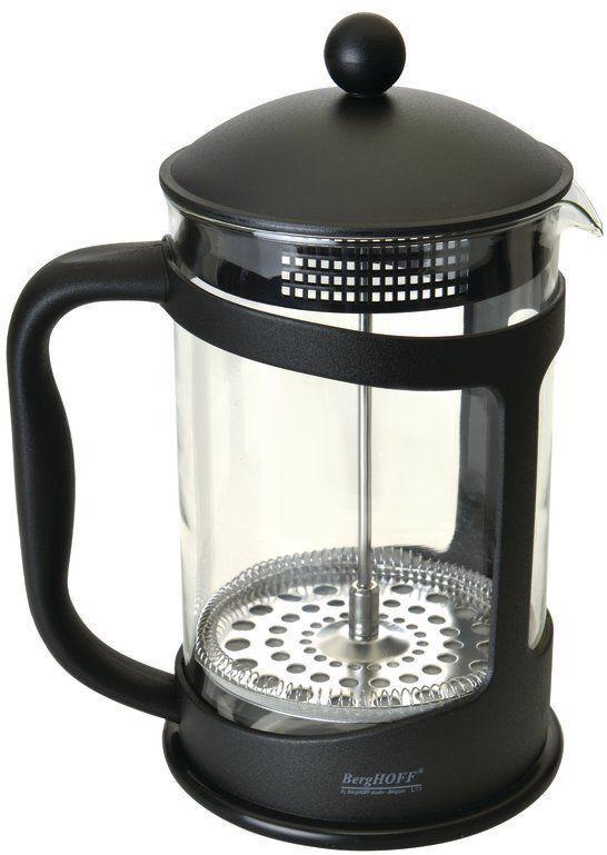 Френч-пресс BergHOFF Studio, цвет: черный, 1,5 л1106836Френч-прессBergHOFF Studio выполнен из высококачественного термостойкого стекла, нержавеющей стали и полипропилена, легко моется, в том числе в посудомоечной машине, позволит вам быстро и без усилий приготовить свежий ароматный кофе или чай. Объем: 1500 мл.