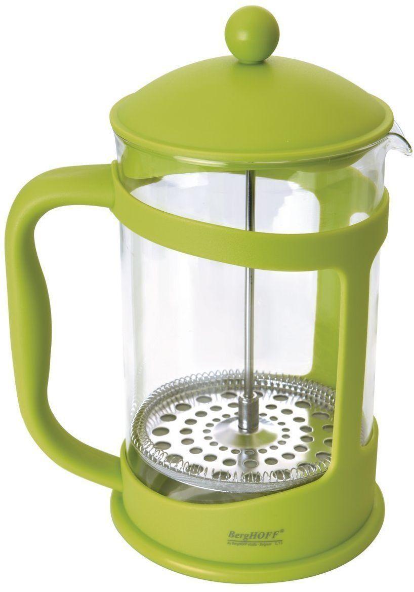 Френч-пресс BergHOFF Studio, цвет: лаймовый, 1,5 л1106845Френч-пресс BergHOFF Studio предназначен для приготовления кофе методом настаивания и отжима, а также для заваривания чая и различных трав. Центральный элемент френч-прессов - плунжер - представляет собой фильтр с ручкой, позволяющий эффективно отделять сырье от напитка при отжиме. Корпус и крышка выполнены из полипропилена, колба изготовлена из термостойкого стекла. Специальная сеточка-фильтр эффективно задерживает чаинки и кофейный осадок.