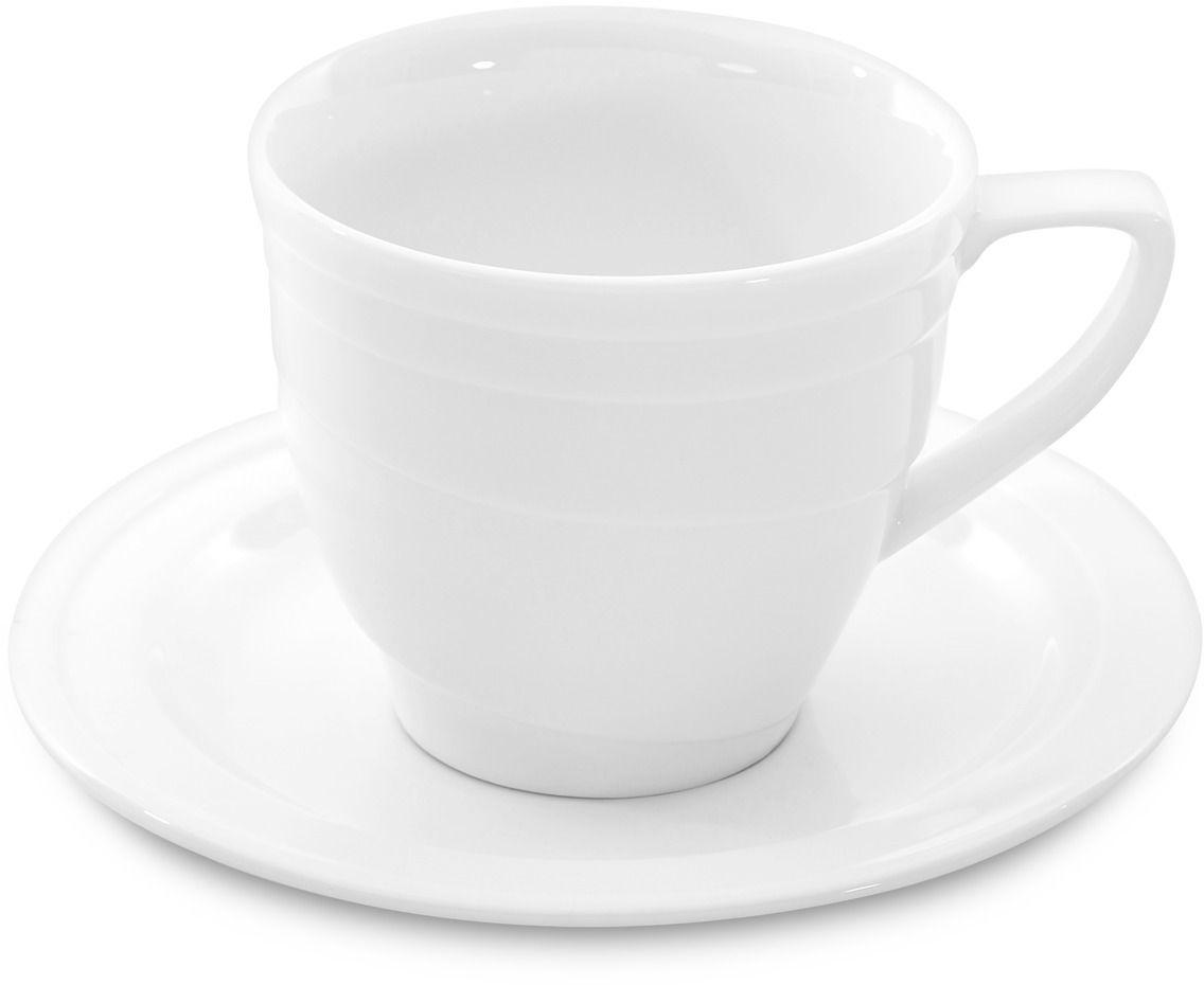 Кофейная пара BergHOFF Hotel, цвет: белый, 95 мл, 2 предмета1690193Кофейная пара BergHOFF Hotel изготовлена из высококачественного прочного фарфора. Толстые стенки покрыты эмалью, что сохраняет фарфор от царапин, а также от потемнения от чая и кофе. Волнистые линии в дизайне задают атмосферу и превращают стол даже с самой обычной едой в изысканную трапезу.