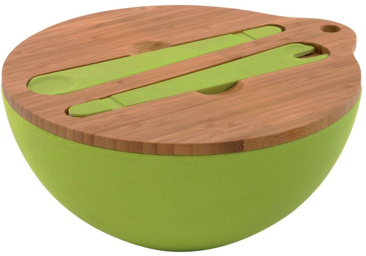 Миска для салата BergHOFF Cook&Co, с крышкой и инструментами сервировки, 3,6 л2800049Миска для салата BergHOFF Cook&Co изготовлена из бамбукового волокна на основе натуральных компонентов. Не бьется при падении - идеальный выбор для обедов на свежем воздухе.Рекомендуется мыть вручную. Не замачивать. В наборе: миска для салата 3,6 л, крышка, 2 прибора для смешивания и сервировки салата.