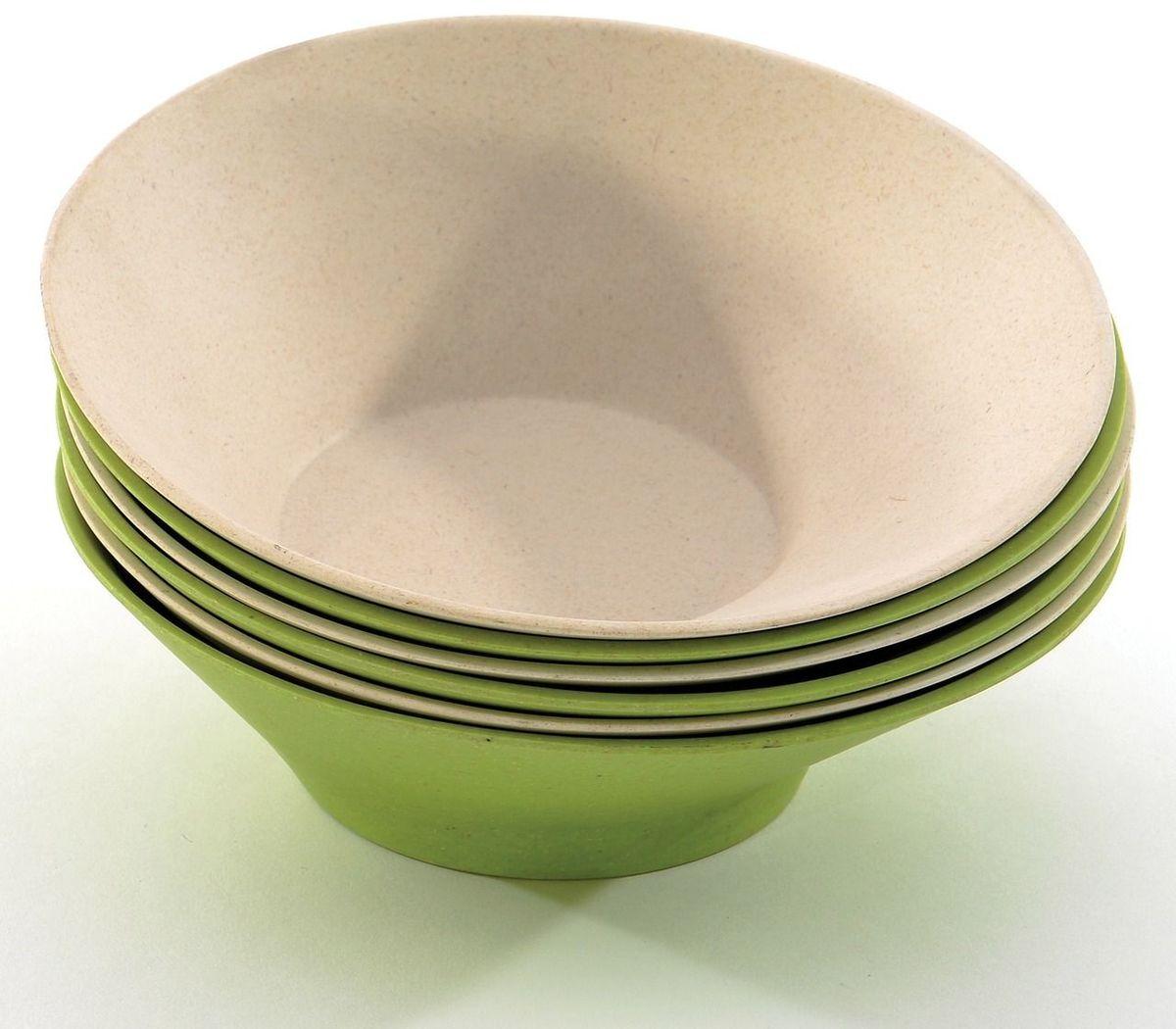 Набор мисок сервировочных BergHOFF Cook&Co, цвет: зеленый, бежевый, 500 мл, 6 шт2800057Набор сервировочных мисок BergHOFF Cook&Co обладают отличным качеством, стилем, инновационным дизайном! Миски изготовлены из бамбука в сочетании с меламином. Это износостойкий, полностью безопасный материал. Подходят только для холодных продуктов. Миски оригинальной скошенной формы, устойчивые. Отличный набор для красивой подачи на стол холодных закусок и салатов. В набор входят 3 зеленые и 3 бежевые миски. Можно мыть в посудомоечной машине. Диаметр: 16 см.Высота: 5,5 см.