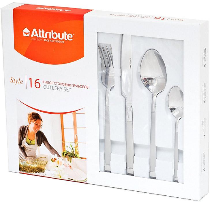 Набор столовых приборов Attribute Style, 16 предметовACS416Набор столовых приборов Attribute Style состоит из 16 предметов: 4 ножей, 4 столовых ложек, 4 вилок и 4 чайных ложек. Приборы изготовлены из высококачественной нержавеющей стали. Эксклюзивный дизайн, эстетичность и функциональность набора позволят ему занять достойное место среди кухонного инвентаря.Столовые приборы прекрасно подойдут для сервировки стола, как в домашнем быту, так и в профессиональных заведениях - кафе, ресторанах.