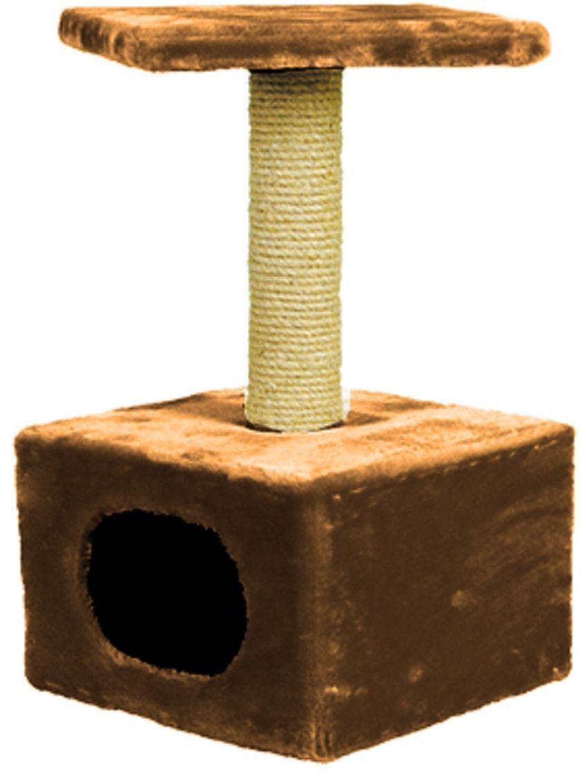 Дом для кошек  Зооник , цвет: коричневый, 34 х 34 х 60 см - Лежаки, домики, спальные места