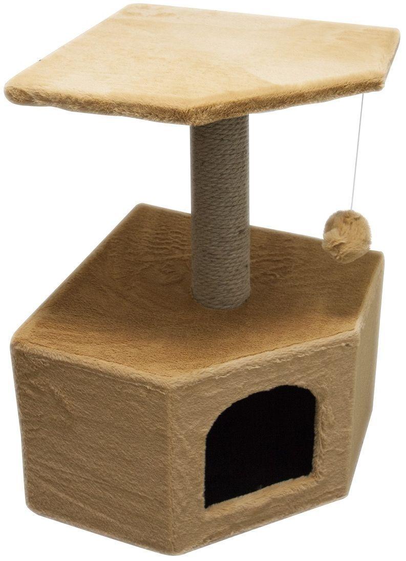 Дом для кошек Зооник, угловой, цвет: бежевый, 40 х 40 х 64 см2207-1Угловой домик Зооник для кошек сделан из одноцветного меха, сверху имеет дополнительную платформу для котиков и игрушку в виде плюшевого шарика, привязанного к верхней платформе. Когтеточка сделана из пеньки. Этот угловой домик для кошки займёт совсем мало места в вашем доме.