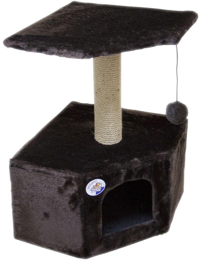 Дом для кошек Зооник, угловой, цвет: темно-коричневый, 40 х 40 х 64 см2207-4Угловой домик Зооник для кошек сделан из одноцветного меха, сверху имеет дополнительную платформу для котиков и игрушку в виде плюшевого шарика, привязанного к верхней платформе. Когтеточка сделана из пеньки. Этот угловой домик для кошки займёт совсем мало места в вашем доме.