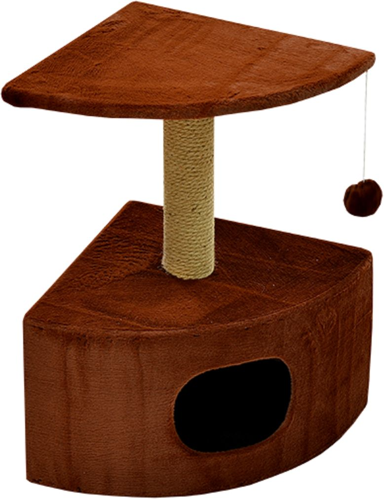 Дом для кошек Зооник, угловой, цвет: коричневый, 43 х 43 х 67 см2208-2Угловой домик Зооник для кошек сделан из одноцветного меха, сверху имеет дополнительную платформу для котиков и игрушку в виде плюшевого шарика, привязанного к верхней платформе. Когтеточка сделана из пеньки. Этот угловой домик для кошки займёт совсем мало места в вашем доме.