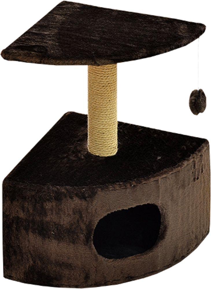 Дом для кошек Зооник, угловой, цвет: темно - коричневый, 43 х 43 х 67 см2208-3Угловой домик Зооник для кошек сделан из одноцветного меха, сверху имеет дополнительную платформу для котиков и игрушку в виде плюшевого шарика, привязанного к верхней платформе. Когтеточка сделана из пеньки. Этот угловой домик для кошки займёт совсем мало места в вашем доме.