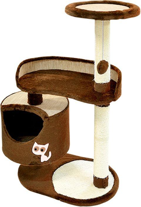 Комплекс для кошек Зооник, цвет: коричневый, 82 х 43 х 118 см22101-2Комплекс для кошек Зооник изготовлен из коврового велюра. Просторный домик подойдет для котят и для взрослых кошек. Над основным местом отдыха находится 2-е дополнительных площадки, на которых ваш любимец сможет полежать свесив лапки. Также предусмотрена когтеточка из комбинированной веревки(пенька/сизаль) и подвесная игрушка. Крышу домика украшает аппликация в виде кошки. Домики Зооник отличает высокое российское качество при доступной цене.